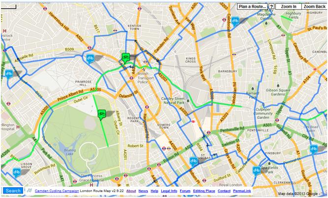 Map of cycle routes, North Camden and surrounding area