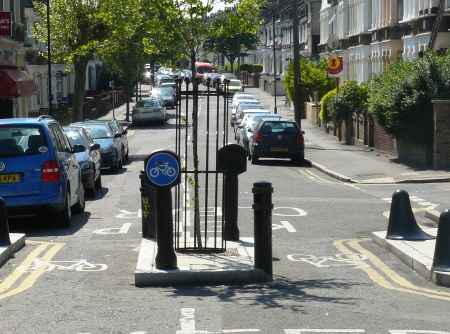 So simple, so effective: a Hackney street closed to through motor traffic, but open to people on bicycles and on foot.