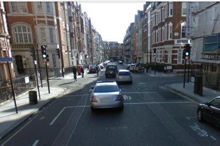New Cavendish Street. At peak, busy; off-peak, fast. Either way, unpleasant. On the 'Cycle Network' and on my route to work.
