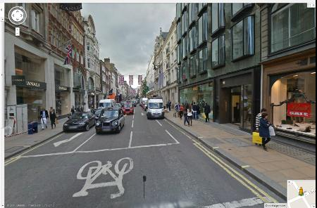 Bond Street, an upmarket shopping street where motor vehicles come first.