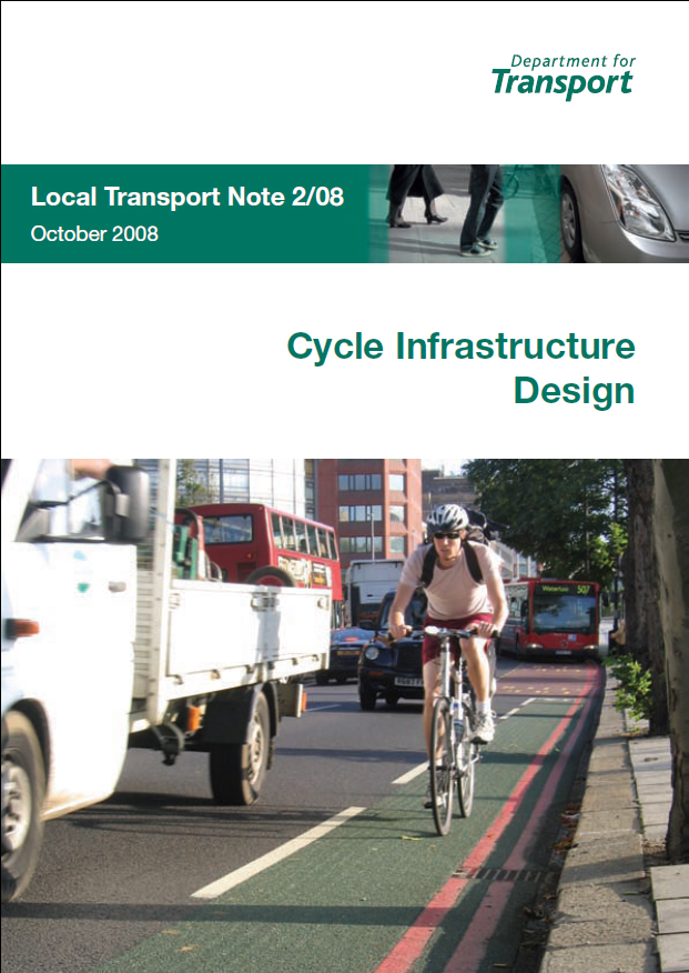 This, the cover of our national cycle design guide, always gets a laugh when presented in most other Northern European countries.