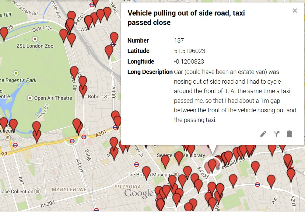 An initial go at mapping Near Miss Project incident locations in one borough.