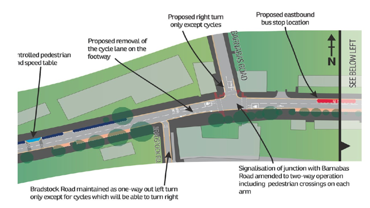 Close-up of the plans showing the cycle route from Barnabas Rd to Bradstock Rd, where protected space will be removed.