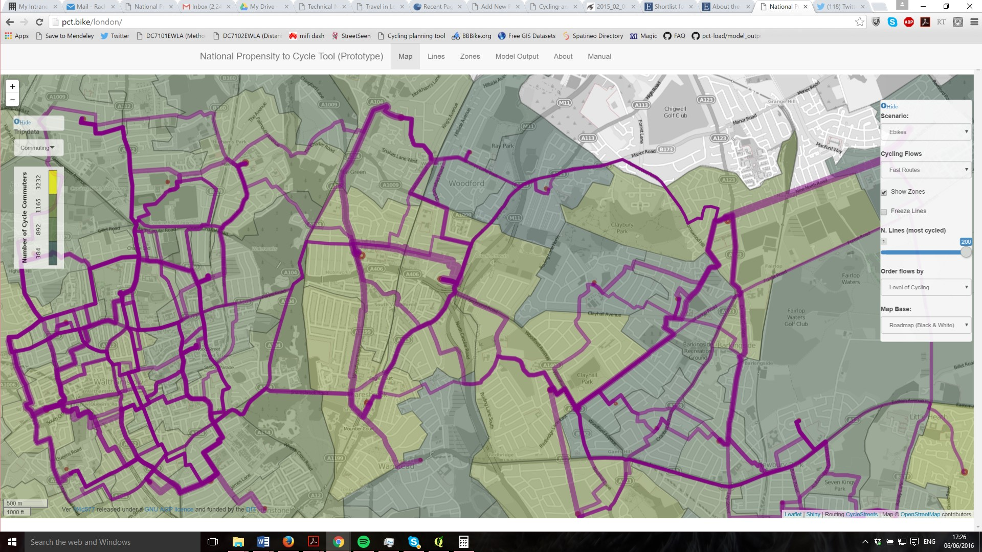 PCT screenshot for part of London