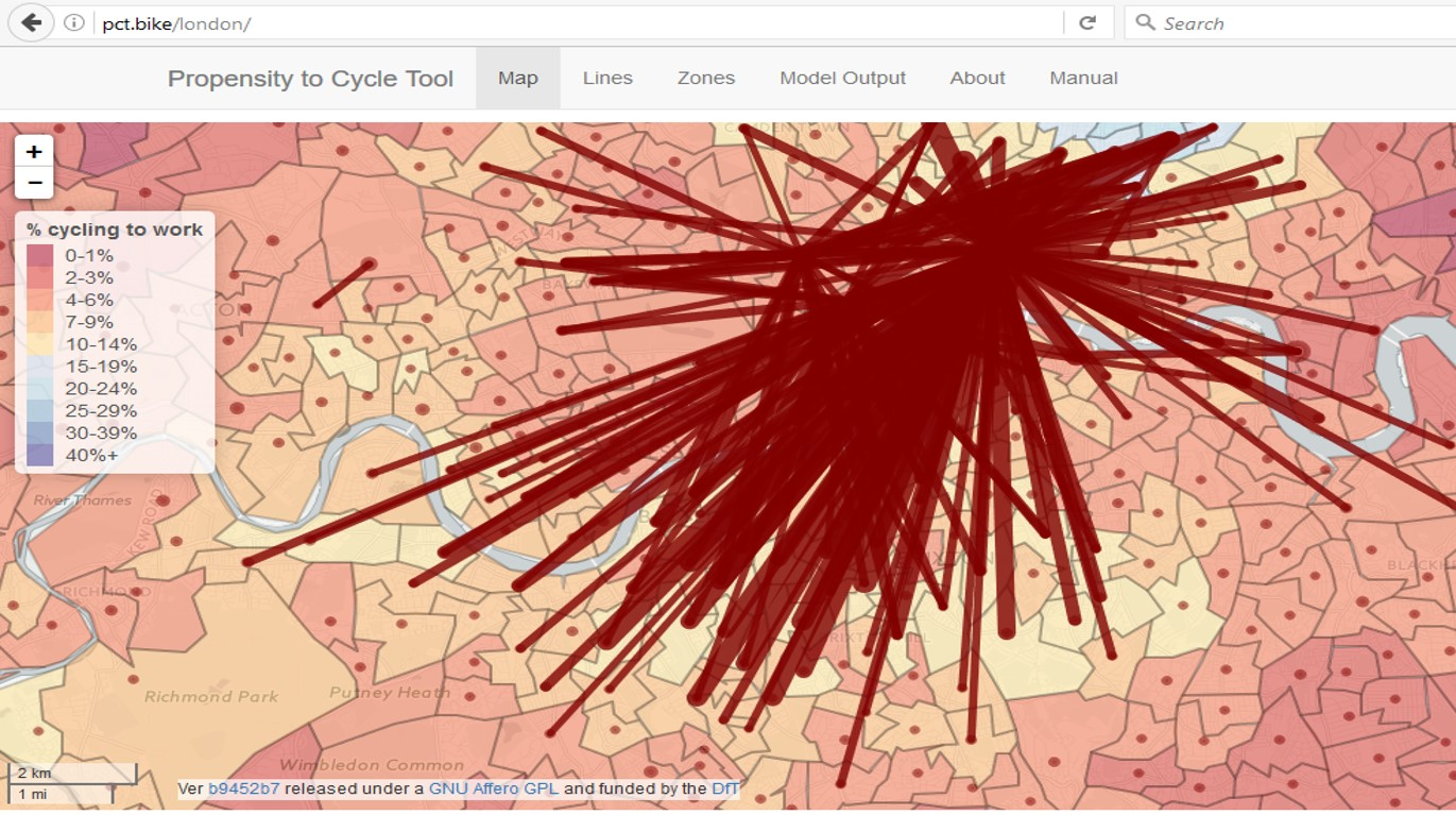Top cycle commuting flows in South London, courtesy of pct.bike
