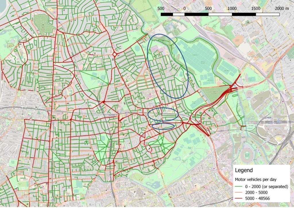 East Hackney, with motor vehicle volumes
